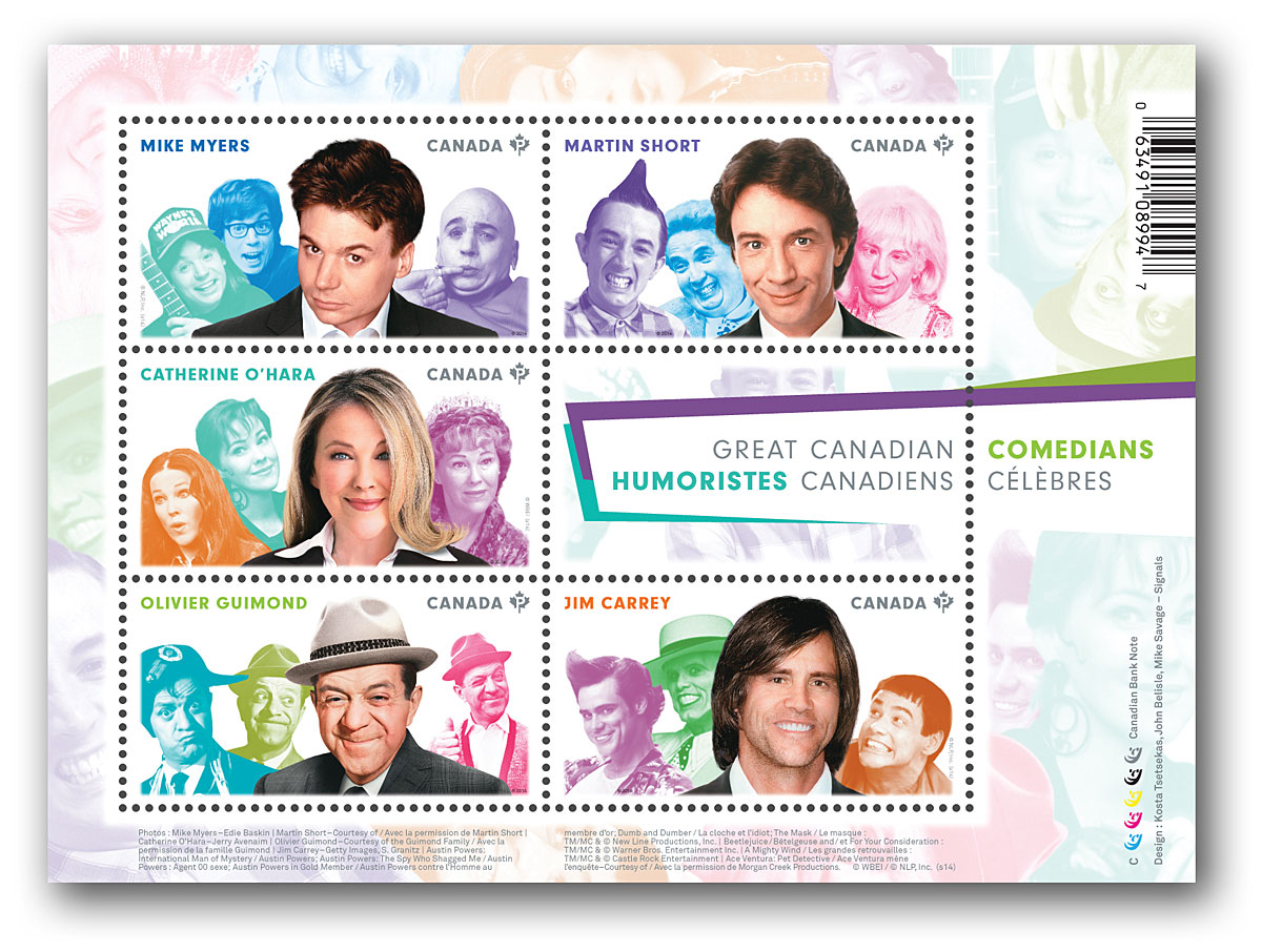 Canada Post honors Canadian comedians with stamp series