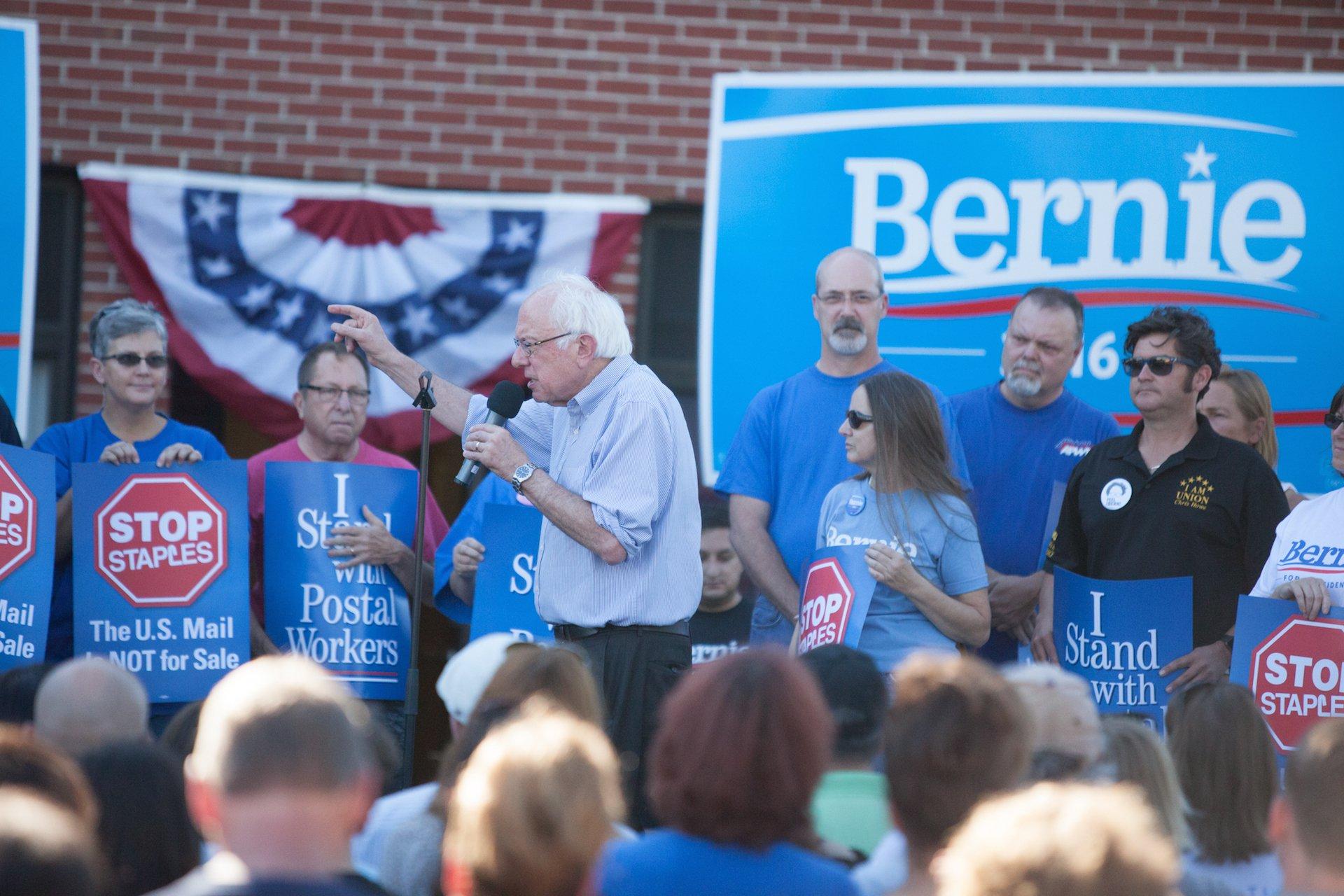 Bernie Sanders with Postal Workers
