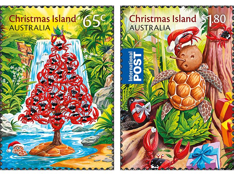 Island Christmas Theme.Christmas Stamps 2015 Christmas Island Postalnews Com