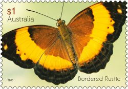 $1 Beautiful Butterflies - Bordered Rustic stamp 2016. * Only to be reproduced with the perforations included.