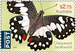 $2.75 Beautiful Butterflies - Chequered Swallowtail stamp 2016. * Only to be reproduced with the perforations included.