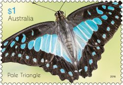 $1 Beautiful Butterflies - Cairns Birdwing stamp 2016. * Only to be reproduced with the perforations included. Pale Triangle stamp 2016. * Only to be reproduced with the perforations included.
