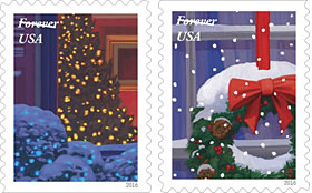 Forever holiday stamps, outside looking in