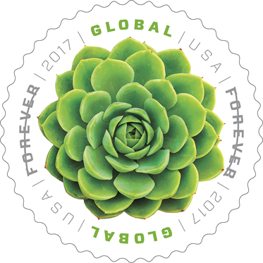 Green Succulent Global stamp