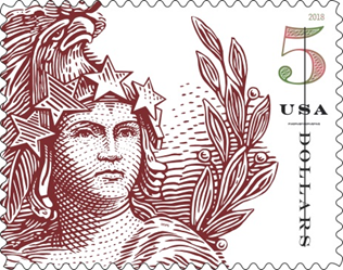 Statue of Freedom, $5 stamp