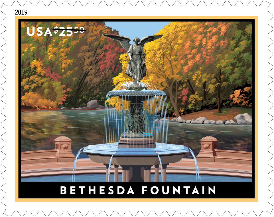 Bethesda Fountain stamp