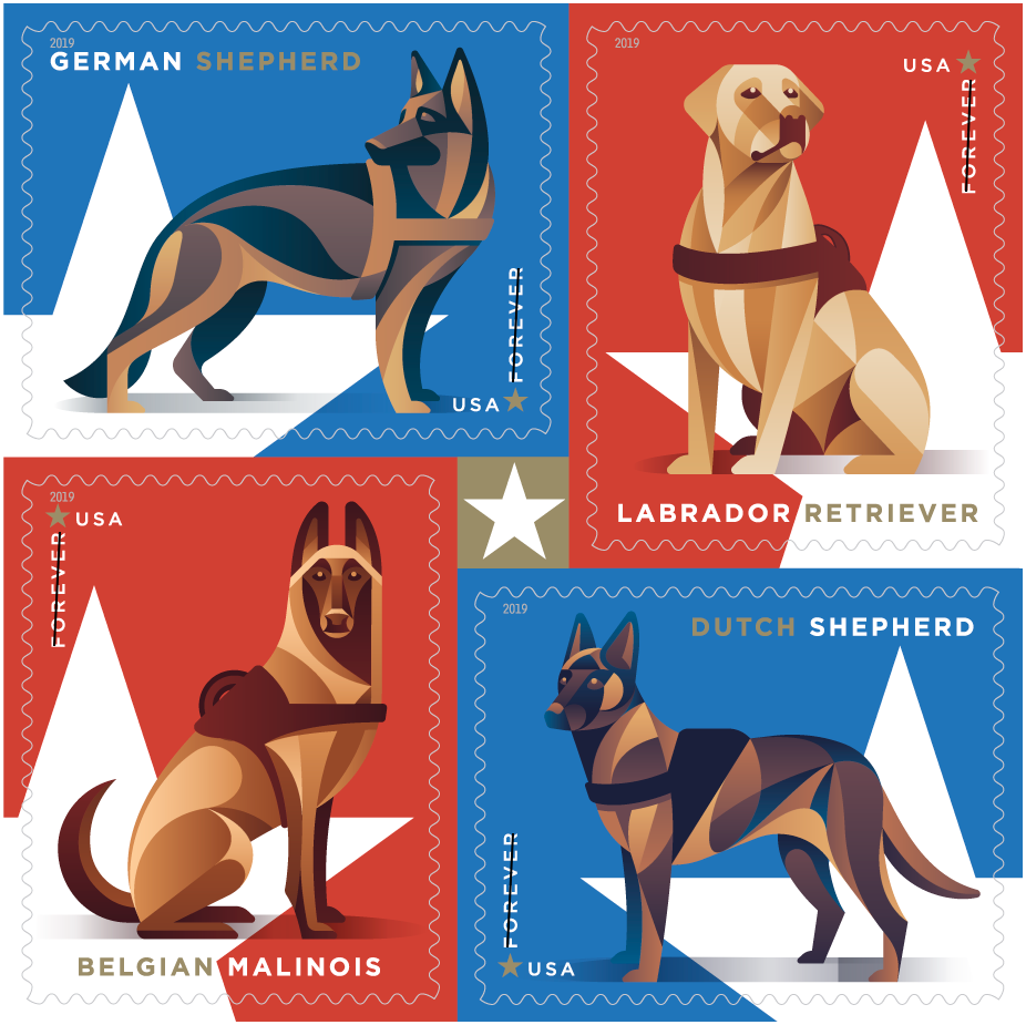 Usps Christmas Stamps 2019.Usps Recognizes Military Working Dogs With New Forever