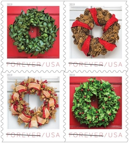 Holiday Wreaths Adorn Forever Stamps