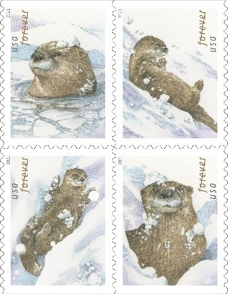 Otters in Snow Forever Stamp
